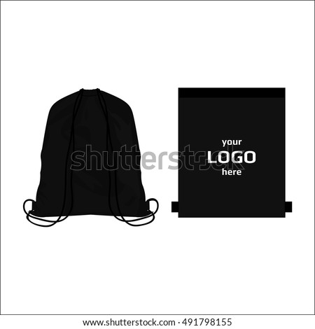 Drawstring sport bag black color, place for logo isolated vector