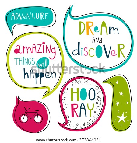 Dream and discover set. Bright adventure theme design. For anniversary, birthday, party invitations, scrapbooking, T-shirt, cards, stickers. Vector illustration. Pink, green, turquoise