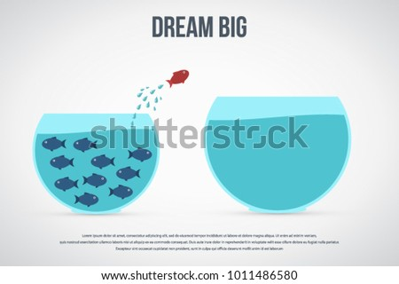 Dream big. Dare to be different.Think differently concept illustration, fish jumping outside the aquarium into biger one. New idea, change, trend, courage, creative solution, innovation and unique way