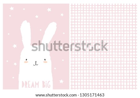 Dream Big Nursery Art. Cute White Bunny Vector Illustration. Irregular White and Pink Grid Pattern. Light Pink Background with White Hand Drawn Stars. Adorable Infantile Style Design. Pastel Colors. Stockfoto ©