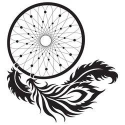 Dream Catcher. Black totem silhouette in ethnic style for interior decoration and clothing. Sketch of a tattoo, amulet of a mascot for energy and psychological protection. Isolated vector illustration