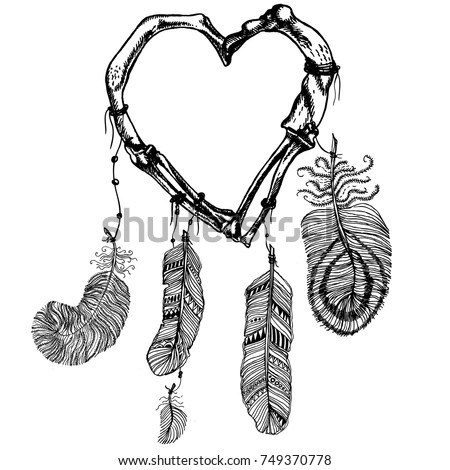 Dream catcher with a heart made of bones. Hand drawn vector mystic illustration. Decoration element for your unusual design.