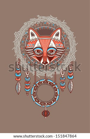 Dream catcher with red fox Vector postcard
