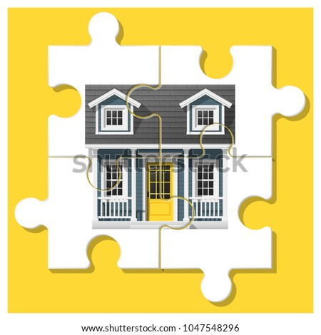 Dream house concept with completed puzzle house on colorful background , vector , illustration