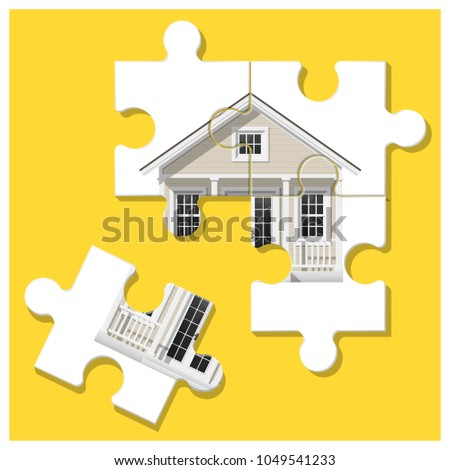 Dream house concept with puzzle house and the last piece for reach the goal , vector , illustration