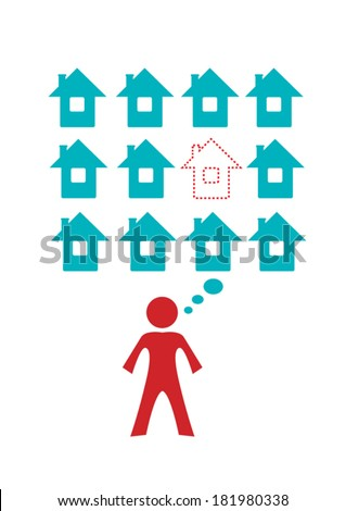 Dream house, seller or home mortgage concept Icons. Editable Clip Art.
