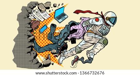dream of being an astronaut, leader breaks out of stereotypes. breaks the wall New life space and science. Pop art retro vector illustration vintage kitsch