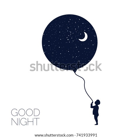 Dreaming boy Concept idea. Good night . Vector illustration.EPS 8