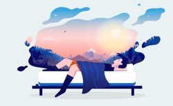 Dreaming man - Man lying in bed taking a nap, dreaming of hiking, traveling and nature. Happy dreams and good sleep concept. Vector illustration.