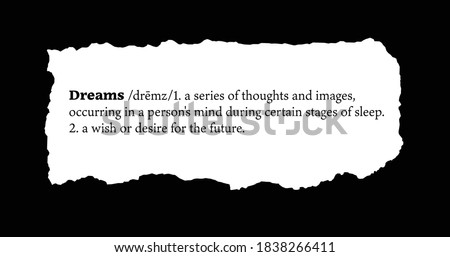 Dreams Definition on a Torn Piece of Paper Foto stock ©
