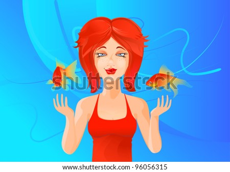 Stock Photo Dreams. Redhead girl with goldfish.