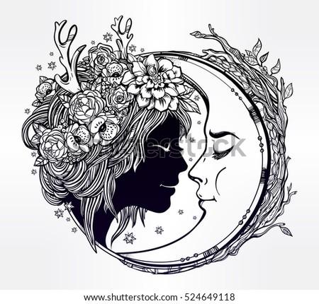 dreamy elf fairy with a moon