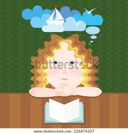 dreamy girl reads book vector