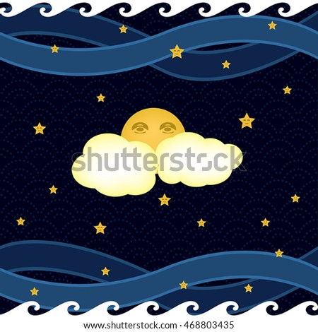 dreamy night sky with a moon