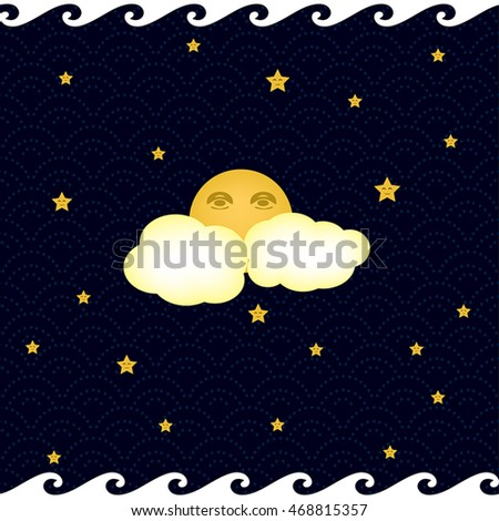 dreamy night sky with the moon