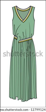 dress drawing, dress cad, tricot band, v neck dress, dress, cad, drawings