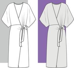 DRESS, Fashion Flat Sketch, Apparel Design Template