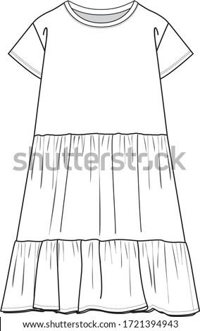 DRESS, Fashion Flat Sketches, Apparel Design Template. Gathered detail dress.