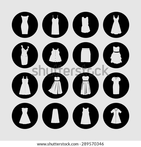 dress icon set