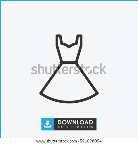 dress icon. Simple outline dress vector icon. On white background.