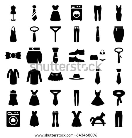 dress icons set set of 36