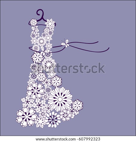dress of flowers on a hanger