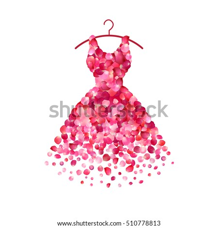 Shutterstock Dress of pink rose petals. Vector icon