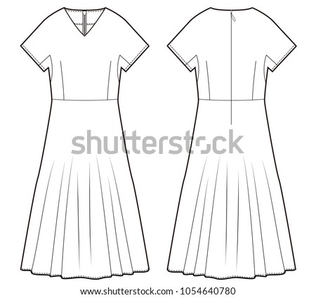 dress one piece fashion vector