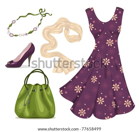 Dress, scarf, necklace, handbag and shoes isolated on white.