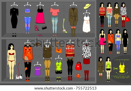 dress up paper doll vector set