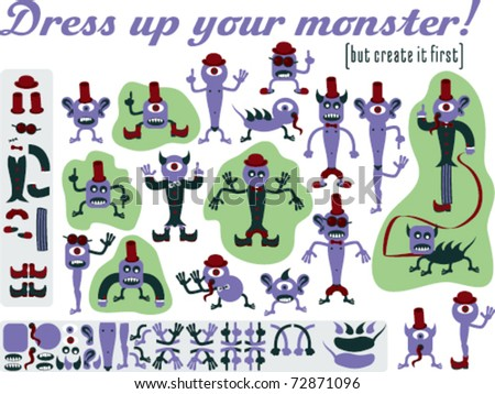 Dress up your monster. Set of varied monsters designed as construction kit