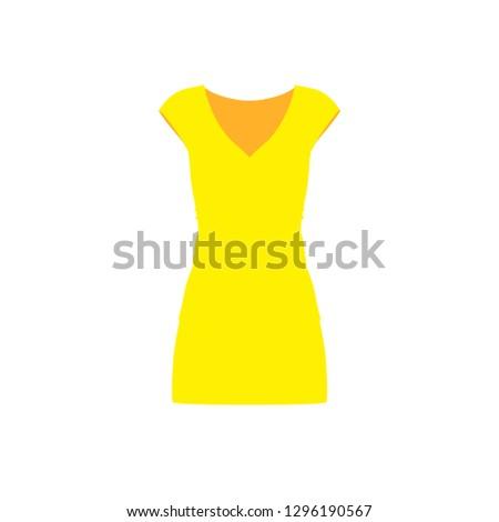 Dress yellow woman fashion person elegance model vector icon. Fashionable casual elegant lady body sign