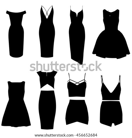 Shutterstock Dresses. Vector. Little black dress. Different types of dresses. Dress silhouette. Isolated on white. EPS 10.