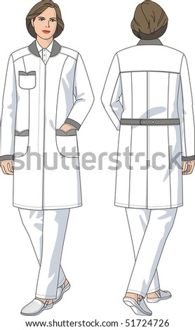 Dressing gown female medical with pockets and long sleeves