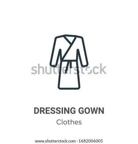 Dressing gown outline vector icon. Thin line black dressing gown icon, flat vector simple element illustration from editable clothes concept isolated stroke on white background ストックフォト ©