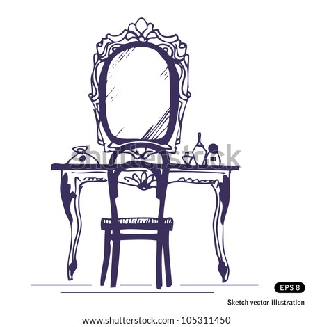 dressing table and mirror hand