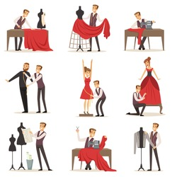 Dressmaker set, male designer tailoring measuring and sewing for his customers vector Illustrations