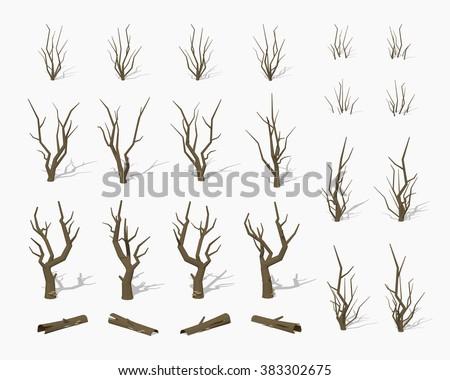 dried dead trees 3d lowpoly