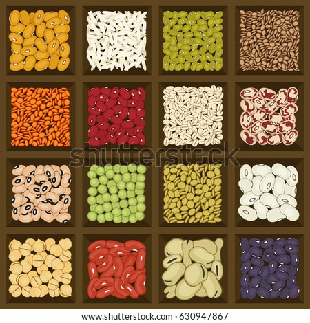 Dried legumes and cereals in a brown wooden storage box