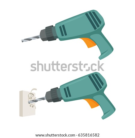 Drill a hole in the wall. Repair tool. Joinery or carpentry instruments. Home working process vector illustration isolated on white.