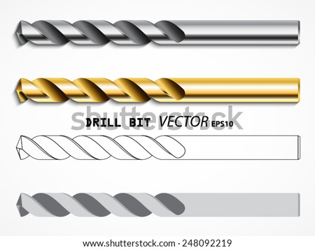 drill bit types /vector set/ illustration eps10