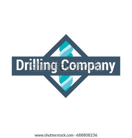 Drill bit vector logo template. Geological prospecting sign. EPS10. Horizontal drilling icon.