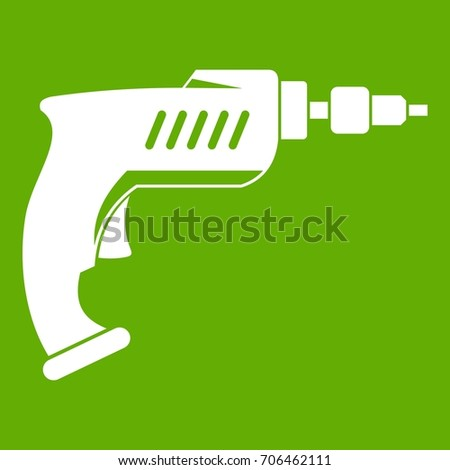 Drill icon white isolated on green background. Vector illustration