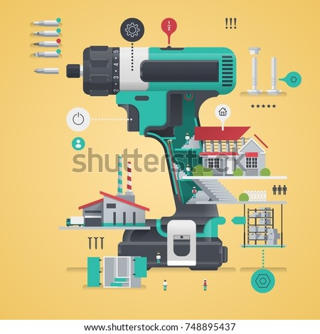 drill infographic, tool illustration