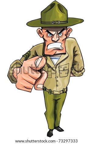 Drill Sargent pointing his finger isolated on white - stock vector