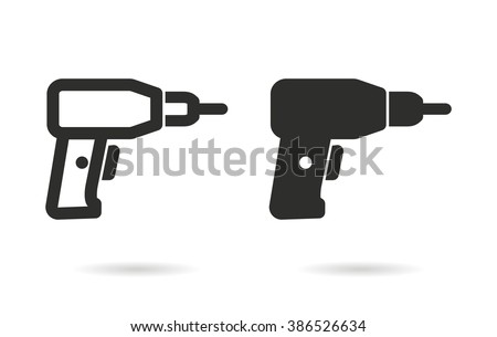 Drill   vector icon. Black  illustration isolated on white  background for graphic and web design.