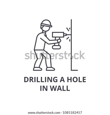 drilling a hole in wall vector line icon, sign, illustration on background, editable strokes