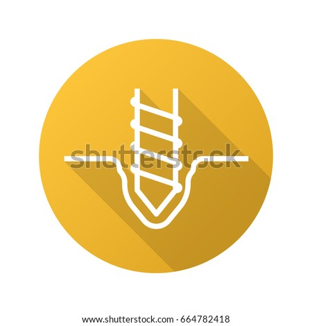 Drilling flat linear long shadow icon. Rotating mining drill bit. Vector outline symbol