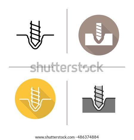 Drilling icons. Flat design, linear and color styles. Rotating mining drill bit. Isolated vector illustrations