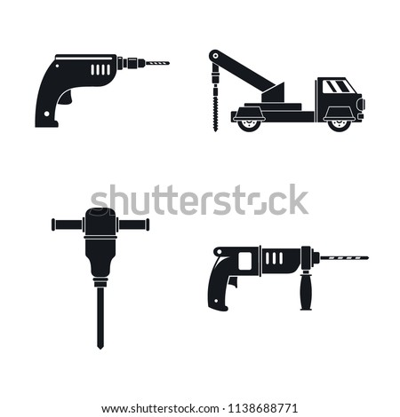 Drilling machine rig electric icons set. Simple illustration of 4 drilling machine rig electric vector icons for web